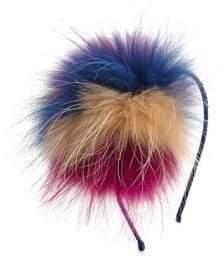 Bari Lynn Girl's Fox Fur Crystal Headband