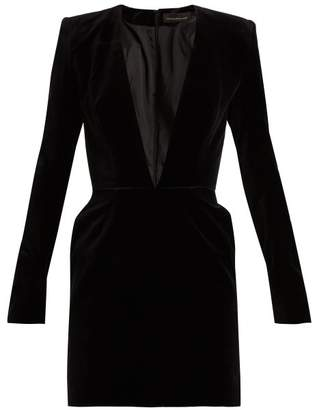 Alexandre Vauthier V Neck Velvet Mini Dress - Womens - Black