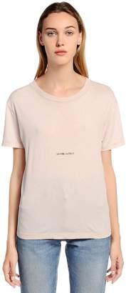 Saint Laurent Logo Detail Washed Cotton Jersey T-Shirt