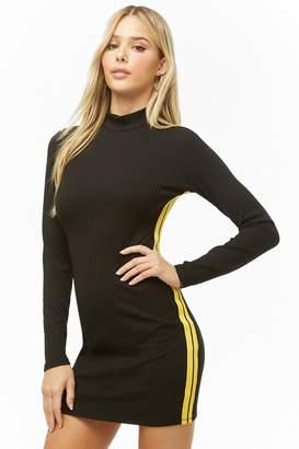 Forever 21 Striped-Trim Mock Neck Dress