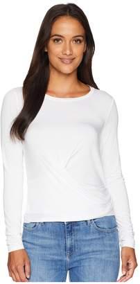 Three Dots Refined Jersey Long Sleeve Crop Top w/ Tie-Back Women's Clothing