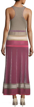 Agnona Sleeveless Mixed-Knit Maxi Dress