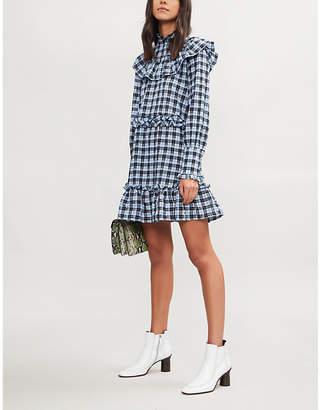Ganni Charron checked cotton-blend mini dress