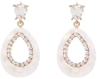 Quiz Cream And Gold Diamante Earrings
