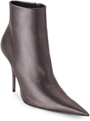 Balenciaga Grey Satin Pointed Toe Ankle Booties