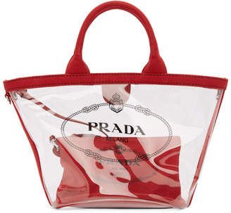 Prada Transparent and Red Small PVC Tote