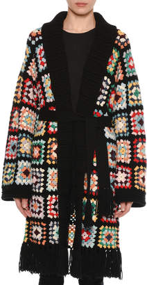 Alanui Multicolor Crochet Long Cashmere Cardigan w/ Self-Belt
