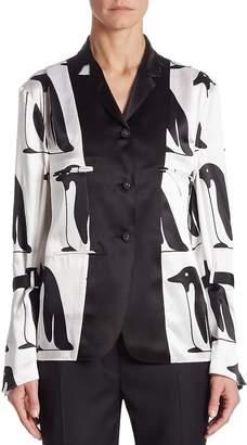 Thom Browne Women's Silk Penguin Blouse