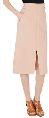 Akris High-Waist A-Line Wool-Stretch Long Skirt w/ Slits