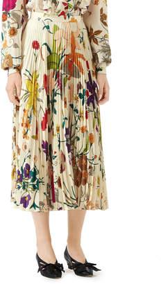 Gucci Flora Gothic Pleated Silk Skirt
