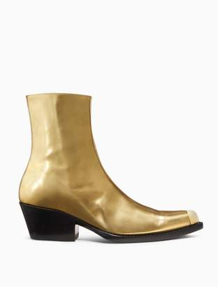 Calvin Klein western ankle boot in metallic leather with toe cap