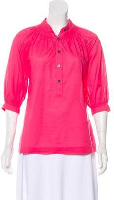 Trina Turk Semi-Sheer Cotton Blouse