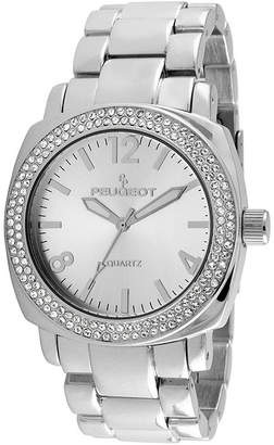 Peugeot Womens Crystal-Accent Silver-Tone Boyfriend Bracelet Watch