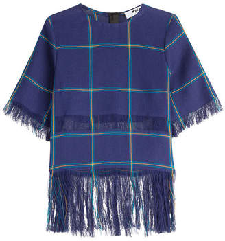 MSGM Printed Linen Top with Fringe