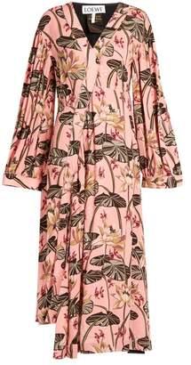 Loewe X Paulas Ibiza Floral Print Crepe Midi Dress - Womens - Pink Print