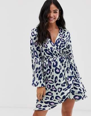 Qed London QED London ruffle wrap mini dress in leopard print