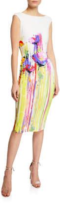 Chiara Boni Purity Print Boat-Neck Cap-Sleeve Sheath Dress