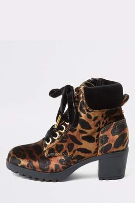 River Island Girls Brown Leopard Hiker Pippa Heeled Boots - Brown