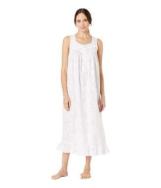 Eileen West Woven Floral Burnout Sleeveless Ballet Nightgown