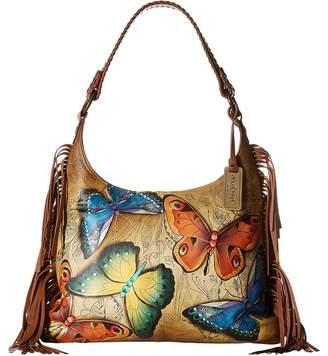 Anuschka 586 Fringe Shoulder Hobo Handbags