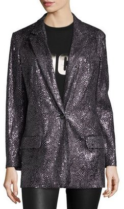 McQ Alexander McQueen Sequined Long One-Button Blazer, Silver $795 thestylecure.com