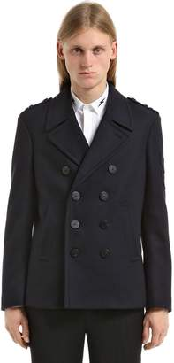 Neil Barrett Double Breast Wool Pea Coat W/ Patches