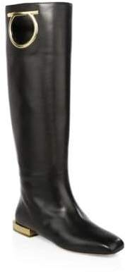 Salvatore Ferragamo Women's Avio Leather Knee-High Boots - Black - Size 39 (9) C