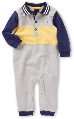 Nautica Newborn/Infant Boys) Color Block Logo Long Sleeve Romper