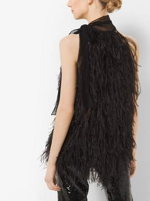 Michael Kors Ostrich Feather and Point dEsprit Sleeveless Bow Blouse