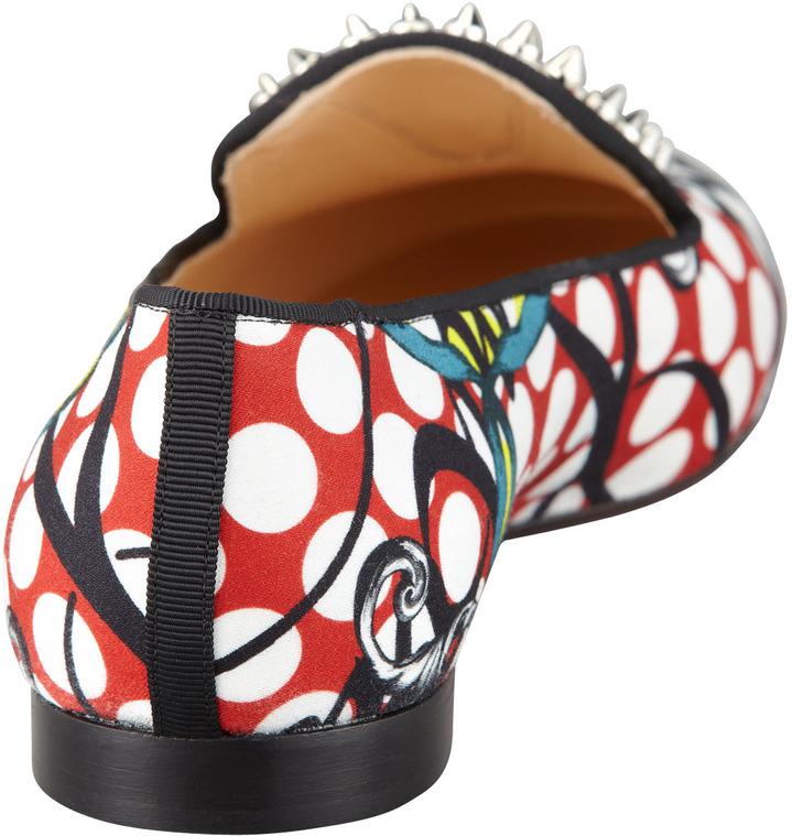 Christian Louboutin Sakouette Face Polka-Dot Fabric Loafer