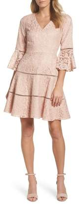 Eliza J Bell Sleeve Lace Fit & Flare Dress (Regular & Petite)