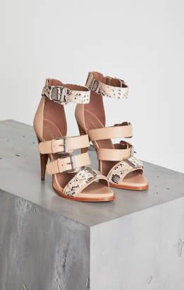 BCBGMAXAZRIA Gloria Snakeskin-Trimmed Stiletto Sandal