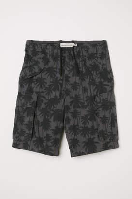 H&M Cotton Twill Cargo Shorts - Gray