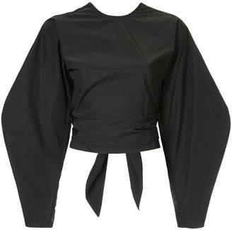 Ellery Lasso cropped wrap blouse