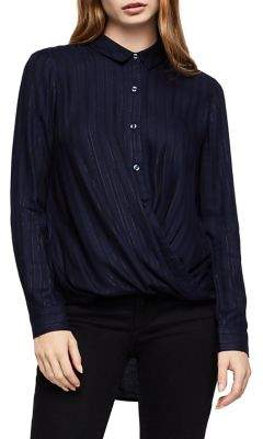 BCBGeneration Striped Easy-Fit Wrap Hem Button-Down Shirt