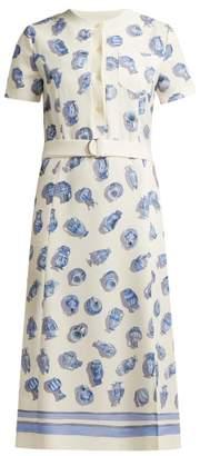 Altuzarra Caletta Vase Print Crepe Midi Dress - Womens - Ivory Multi