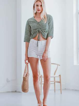 Goodnight Macaroon 'Margot' Floral Print Front Tied Cropped Top