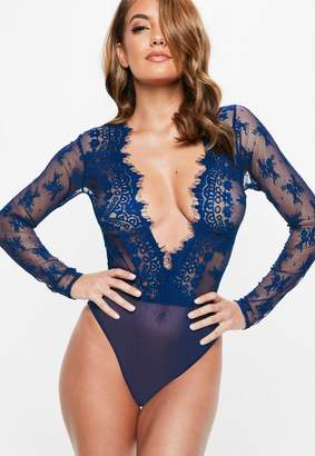 Missguided Blue Eyelash Lace Extreme Plunge Bodysuit