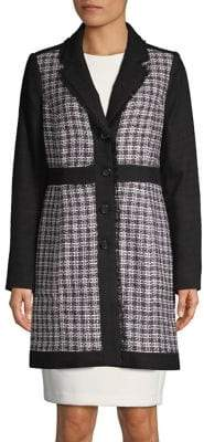 Karl Lagerfeld Paris Tweed Long-Sleeve Topper