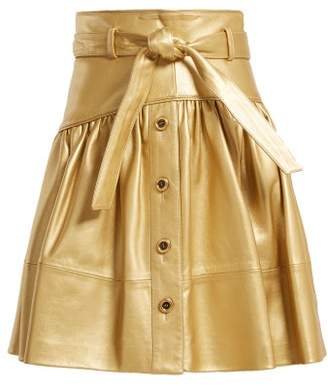 Miu Miu High Rise Leather Mini Skirt - Womens - Gold