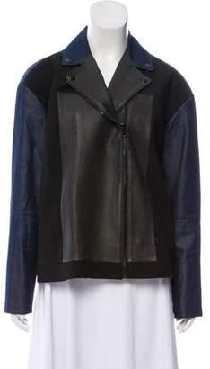 Tibi Denim-Trimmed Zip Front Jacket