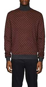 Prada Men's Argyle Wool Turtleneck Sweater - Md. Red
