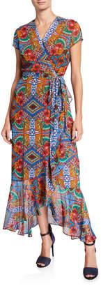Neiman Marcus Mixed Print Faux-Wrap Dress