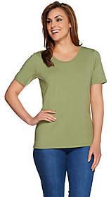 Denim & Co. Essentials Scoopneck T-shirt w/Trim Details