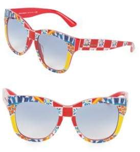 Dolce & Gabbana 55MM Floral Tile Print Square Sunglasses