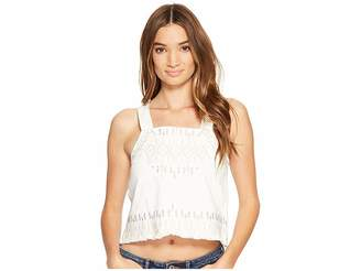 Blank NYC Embroidered Sleeveless Shirt in Snow Flake Women's Clothing