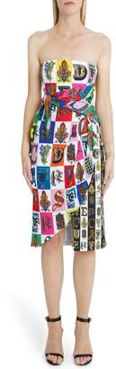 Versace First Line Alphabet Print Strapless Sheath Dress