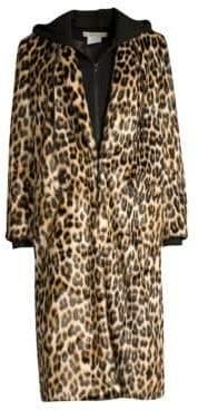 Alice + Olivia Kylie Layered Hoodie Leopard Coat