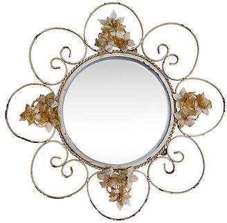 One Kings Lane Vintage Decorative Round Iron Mirror - Fleur de Lex Antiques