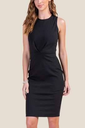 francesca's Kristie Pleated Front Sheath Dress - Black